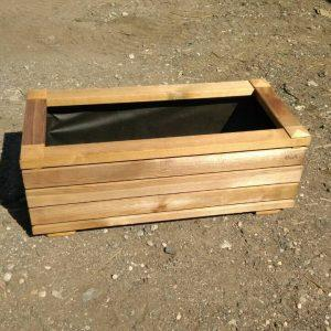 low wooden flower box