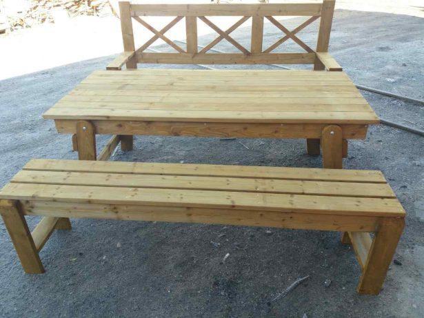 Садовая мебель из дерева: скамейка, лавка, стол